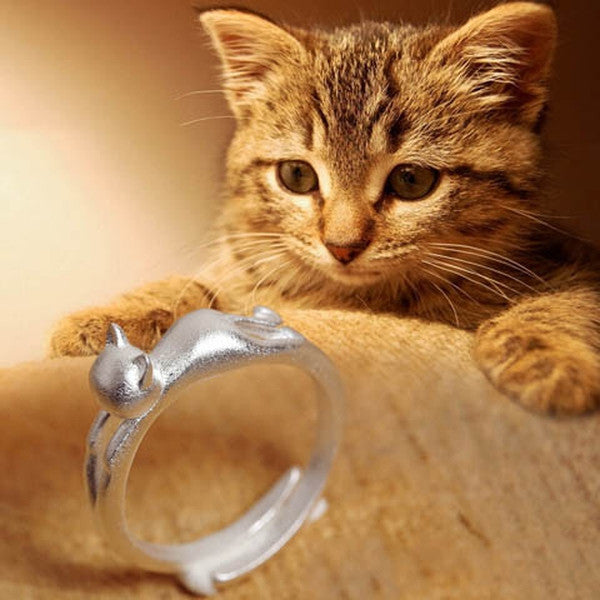 Silver Cat Head Opening Ring-Rama Deals