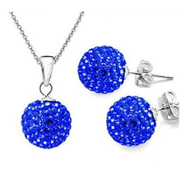 Clearance Two Colors Crystal Ball Necklace + Earrings-Rama Deals