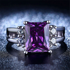 Amethyst CZ Diamond Ring