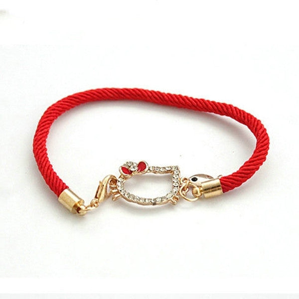 Lucky Red Rope Kitty Cat Fish Crystal Bracelet-Rama Deals