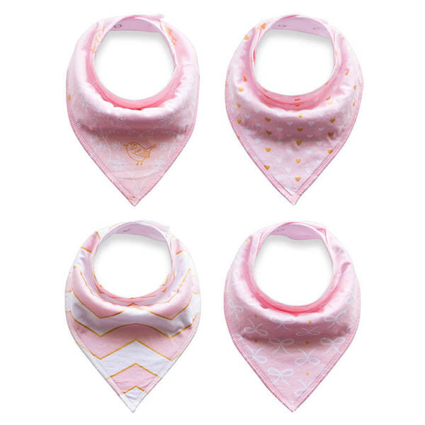 4 Pieces Baby Cotton Saliva Towel Cute Print Soft Bib-Rama Deals
