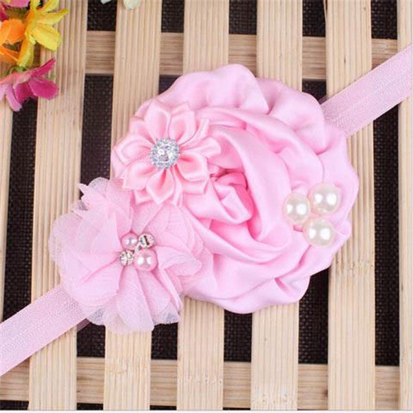 Baby Pearl Flower Elastic Headband-Rama Deals