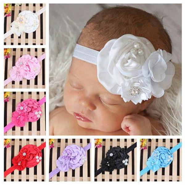 Clearance Baby Pearl Flower Elastic Headband-Rama Deals