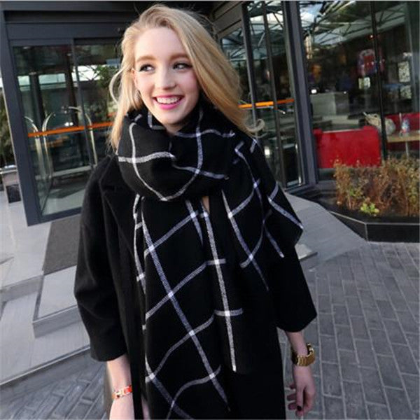 Clearance Black And White Plaid Cashmere Shawl / Scarf-Rama Deals