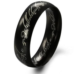 Black Stainless Steel Elf Inscribed Ring for Men