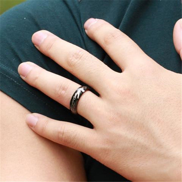Clearance Black Stainless Steel Elf Inscribed Ring for Men-Rama Deals