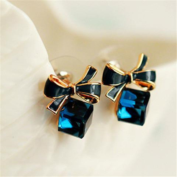 Bowknot Cube Crystal Stud Earrings-Rama Deals