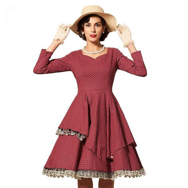 Lace Patchwork Multi-Level Dress-Rama Deals