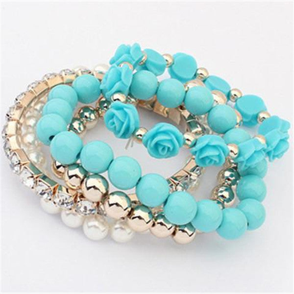 Candy Color Pearl Rose Flower Multilayer Charm Bracelet-Rama Deals