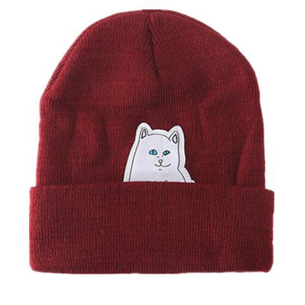 Cartoon Cat Wool Knitted Hat-Rama Deals
