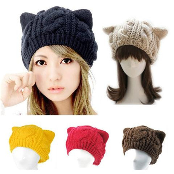 Clearance Cat Ear Knitting Wool Beanie Hat-Rama Deals