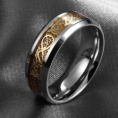 Celtic Carved Dragon Stainless Steel Ring-Rama Deals