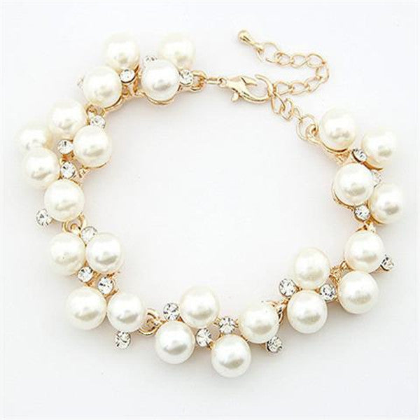 Clearance Charm Crystal Diamond Pearl Beads Bracelet-Rama Deals
