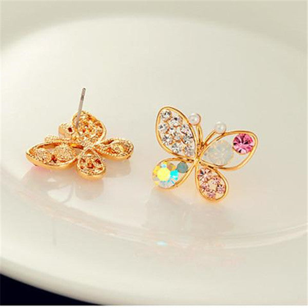 Colorful Crystal Simulated Pearl Butterfly Stud Earring-Rama Deals