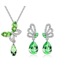 Crystal Butterfly  Water Drop Necklace and Earrings Set