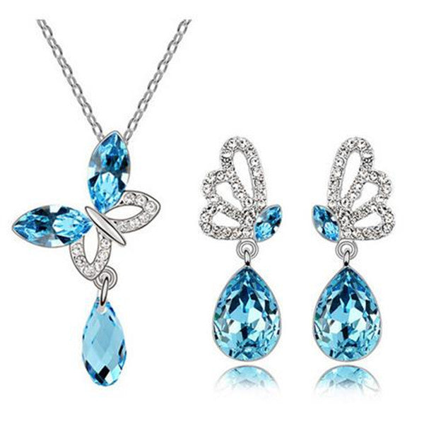 Crystal Butterfly Water Drop Necklace and Earrings Set-Rama Deals