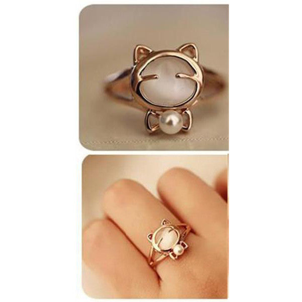 Clearance Crystal Cat Head Pearl Ring-Rama Deals