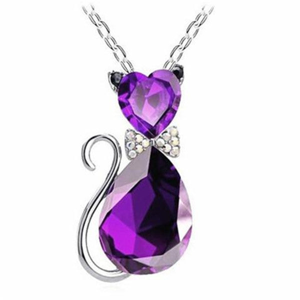 Clearance Crystal Cat Pendant Necklace-Rama Deals