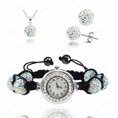 Crystal Necklace+Bracelet Watch+Earring Jewelry Set