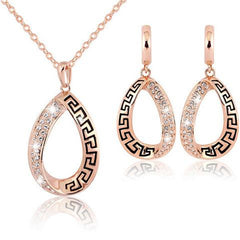 Crystal Water Drop Annular Necklace Earring Set-Rama Deals