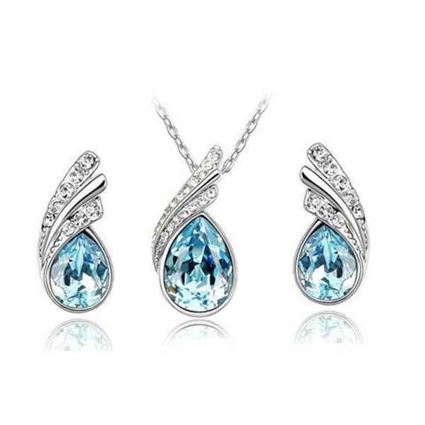 Clearance Crystal Water Drop Leaves Earrings Necklace Jewelry Sets-Rama Deals