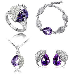 Crystal Wedding Heart Leaf Jewelry Set-Rama Deals