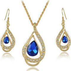 Double Gold Water Drop Crystal Necklace + Earrings-Rama Deals