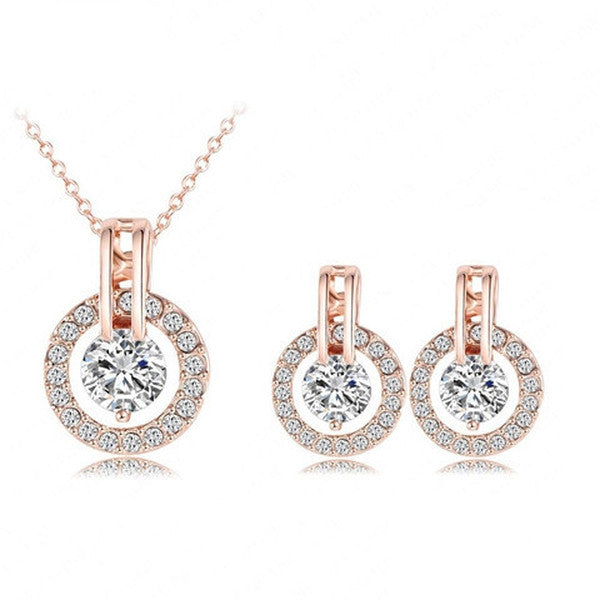 Clearance Rose Gold Plated Necklace/Earring Bijouterie Set-Rama Deals