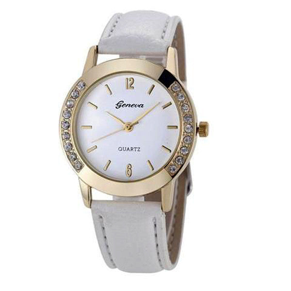 Clearance Elegan Women Diamond Analog Leather Quartz Wrist Watch-Rama Deals