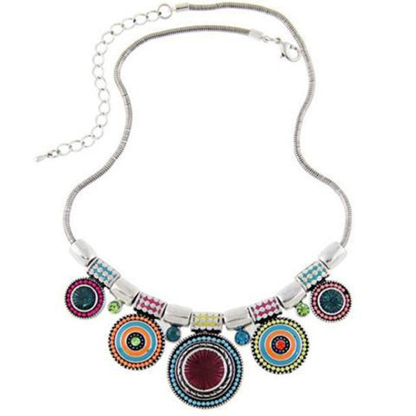 Ethnic Vintage Colorful Bead Pendant Necklace-Rama Deals
