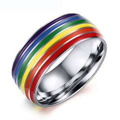 Pride Love Rainbow Rings in Silver or Gold - Rama Deals - 1