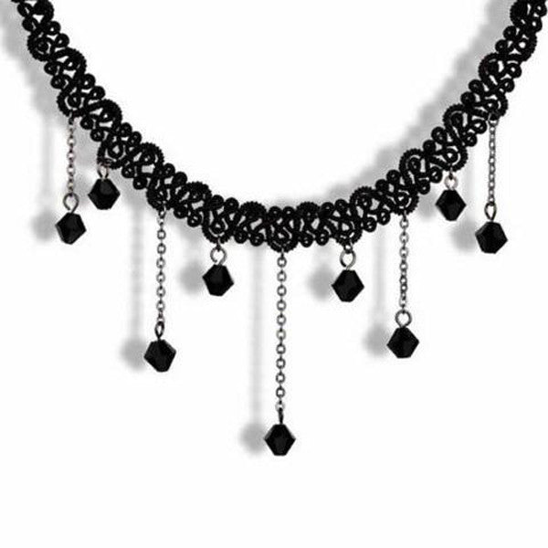 Clearance Fashion Crystal Lace Collar Pendant Chain Necklace Jewelry-Rama Deals