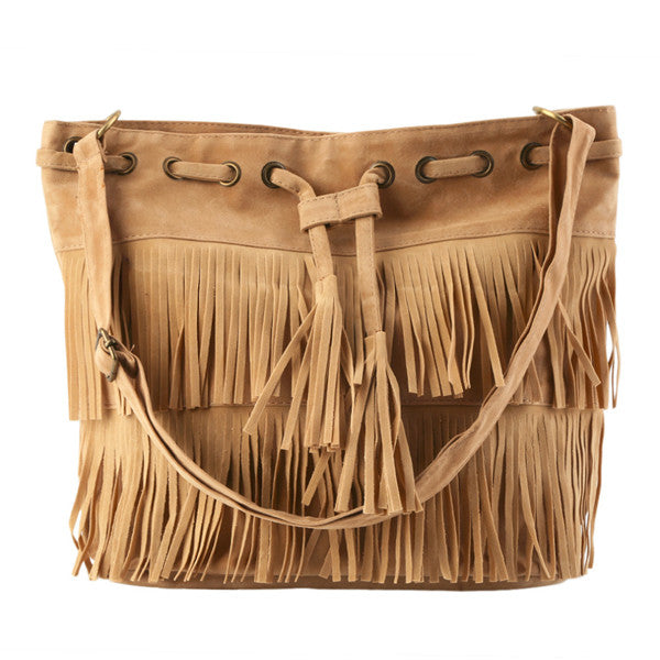 Clearance Women Faux Suede Fringe Tassel Handbag-Rama Deals