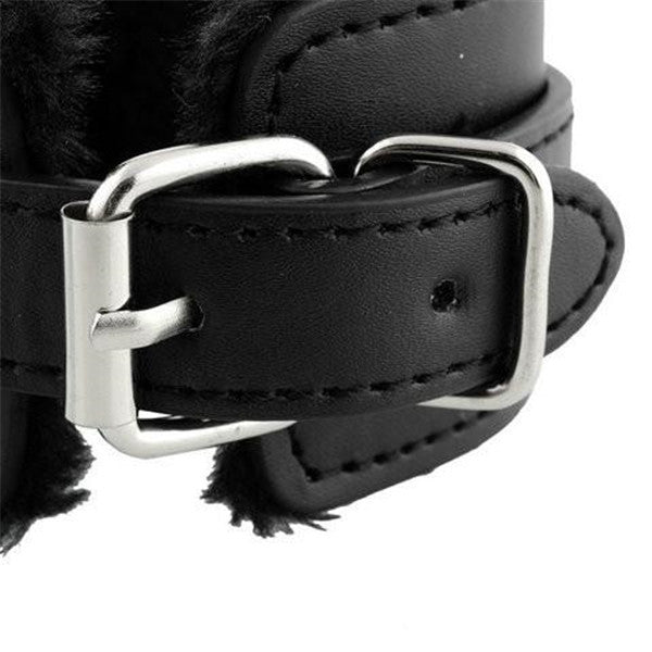 Black Soft PU Leather Handcuffs-Rama Deals