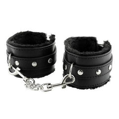 Black Soft PU Leather Handcuffs