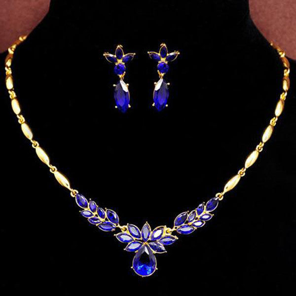 Gold Filled Diamond 3 Colors Necklace+Earrings-Rama Deals