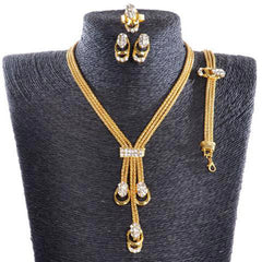 Gold Plated Collar Necklace Earrings Bracelet Ring Set-Rama Deals