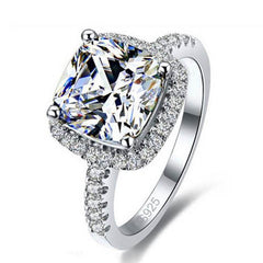 Luxury Sterling Silver Engagement Rings Zirconia Jewelry