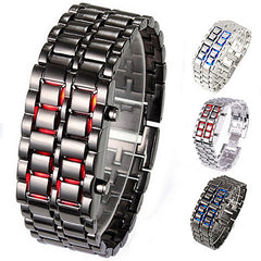 New Fashion Unisex Lava Iron Samurai Metal LED Faceless Bracelet Watch