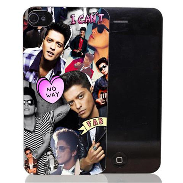 Bruno Mars Singer Celebrity Pattern Hard Black Case Back Cover For iPhone-Rama Deals