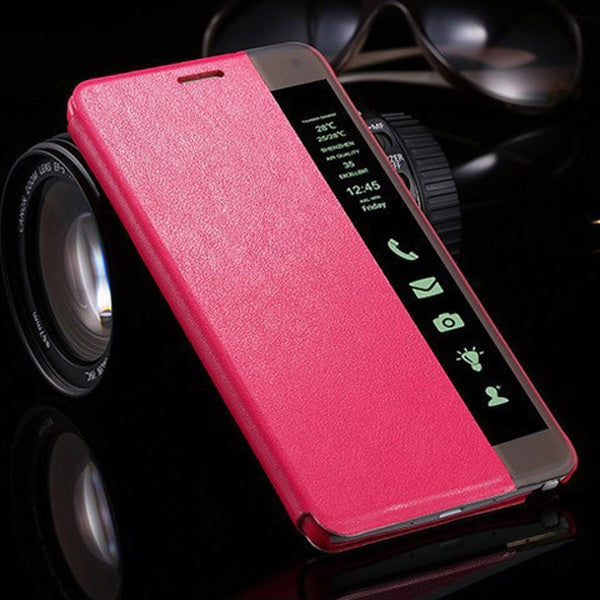 Clearance Smart LED Display Flip Stand Leather Case Samusung Galaxy Note 3/ Note 4-Rama Deals