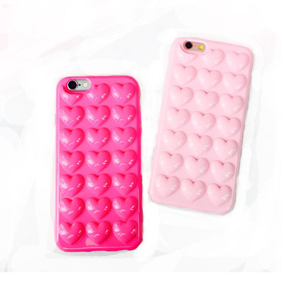 3D Stereo Heart Shapes Candy Color Soft TPU Case For iPhone-Rama Deals