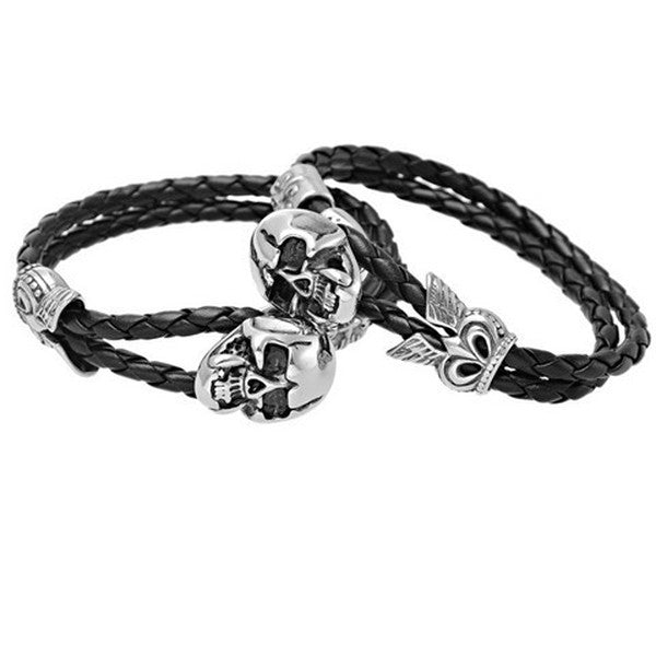Men's Stainless Steel Skull Clasp Black Leather Bracelet-Rama Deals