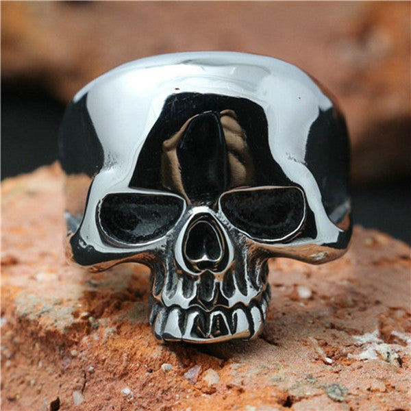 Clearance Polishing Skull Stainless Steel Ghost Skull Ring-Rama Deals