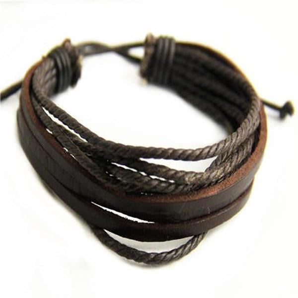 Hand-woven Wrap Multilayer Leather Men Bracelet-Rama Deals