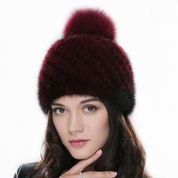 Clearance Knitted Mink Winter Beanies Cap With Fox For Women-Rama Deals