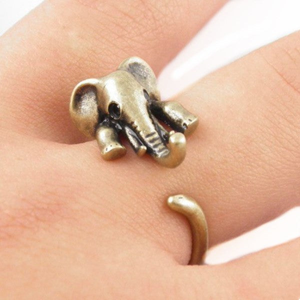 Clearance Intage Brass Adjustable Finger Elephant Wrap Ring-Rama Deals
