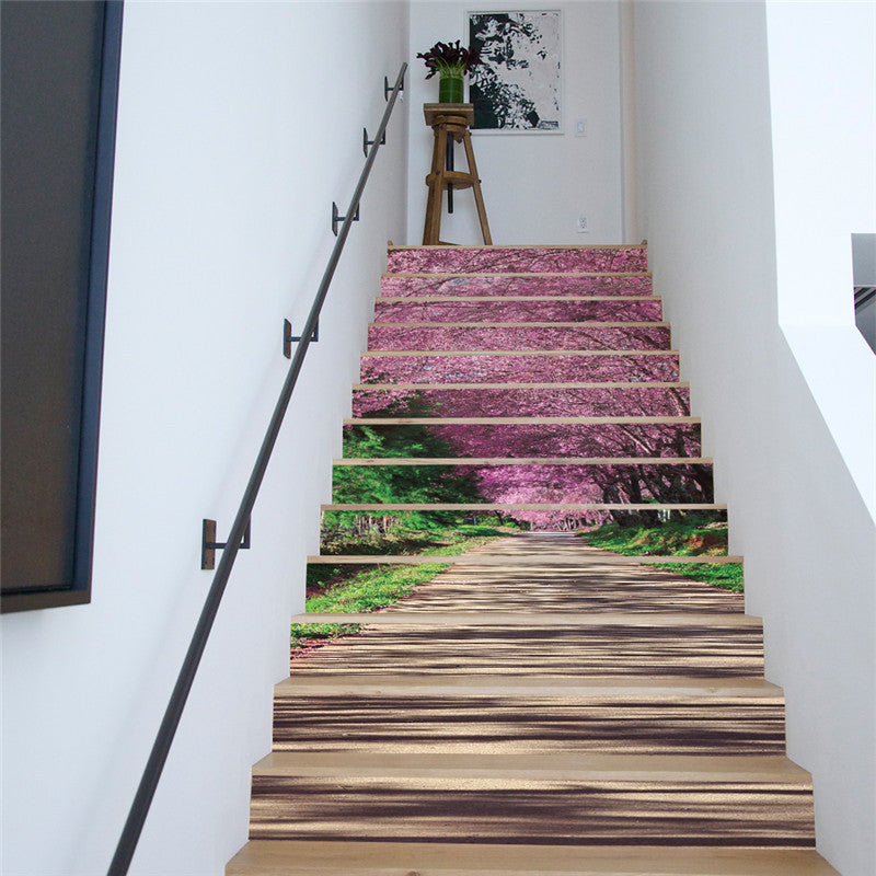 13 Pcs/set 3D Forest Bridge Sakura Trail Pattern Stairs Stickers-Rama Deals