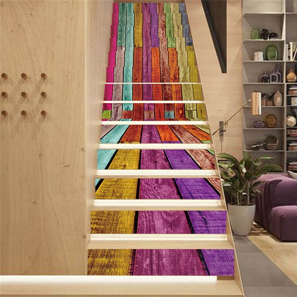 18x100cm 13Pcs 3D DIY Creative Simulation Bookcase Numbers Stickers for Stairs-Rama Deals