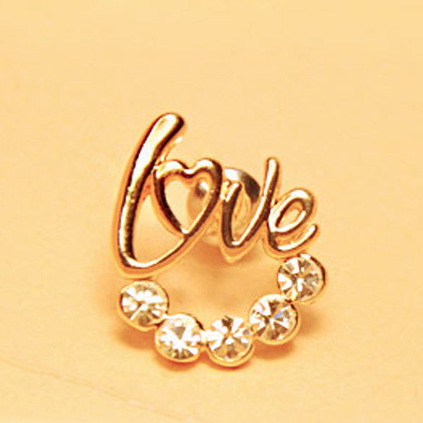 Clearance LOVE Crystal Stud Earrings - Gold Color-Rama Deals